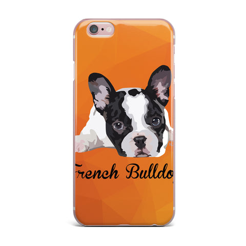 "NL Designs ""French Bulldog"" Orange White Animals Digital Illustration iPhone Case"
