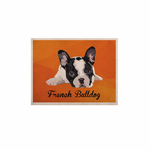 "NL Designs ""French Bulldog"" Orange White Animals Digital Illustration KESS Naturals Canvas (Frame not Included)"
