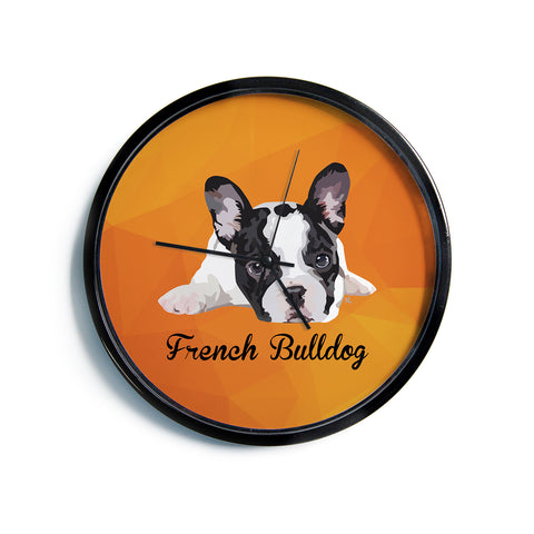 "NL Designs ""French Bulldog"" Orange White Animals Digital Illustration Modern Wall Clock"
