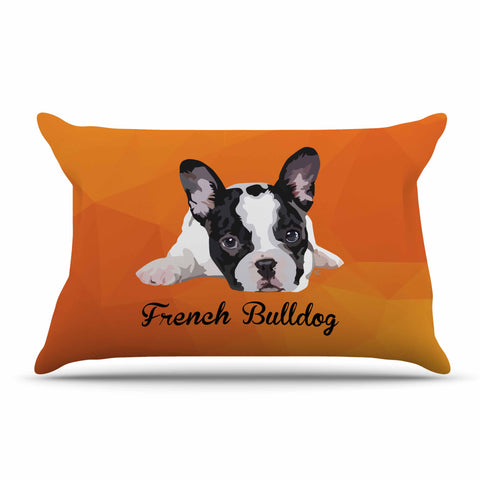 "NL Designs ""French Bulldog"" Orange White Animals Digital Illustration Pillow Sham"