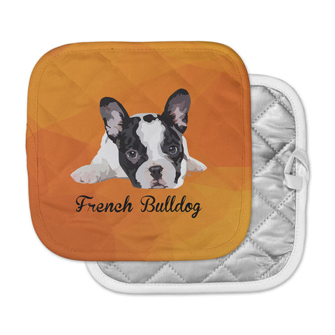 "NL Designs ""French Bulldog"" Orange White Animals Digital Illustration Pot Holder"