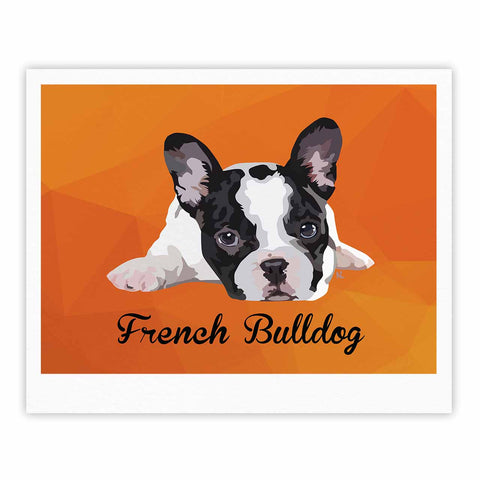 "NL Designs ""French Bulldog"" Orange White Animals Digital Illustration Fine Art Gallery Print"