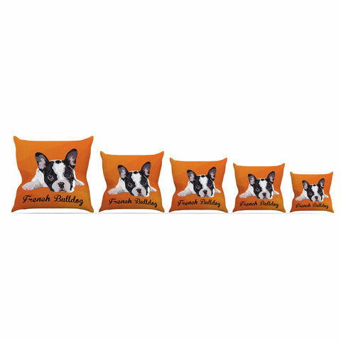 "NL Designs ""French Bulldog"" Orange White Animals Digital Illustration Outdoor Throw Pillow"