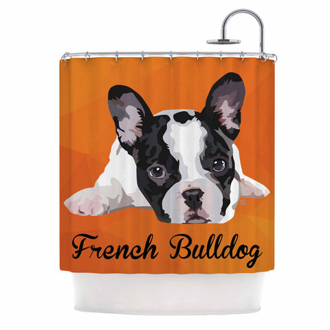 "NL Designs ""French Bulldog"" Orange White Animals Digital Illustration Shower Curtain"
