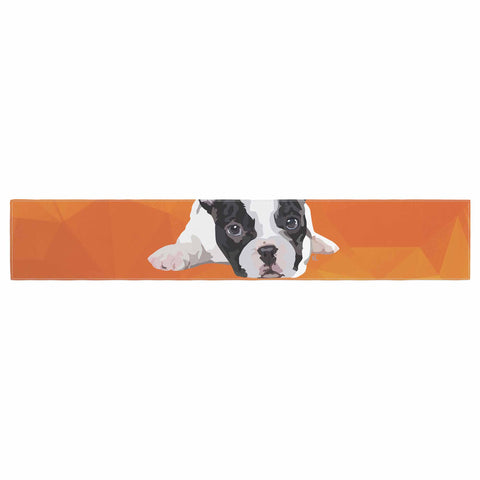 "NL Designs ""French Bulldog"" Orange White Animals Digital Illustration Table Runner"