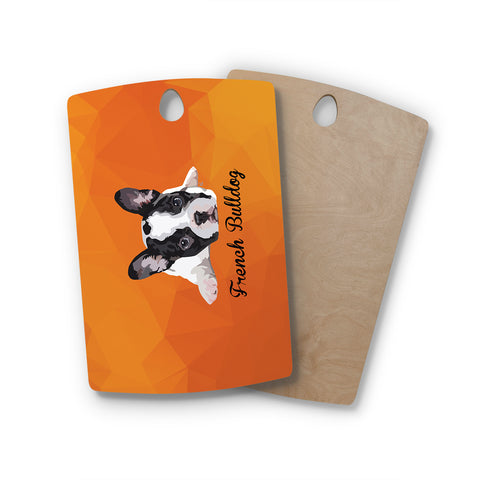 "NL Designs ""French Bulldog"" Orange White Animals Digital Illustration Rectangle Wooden Cutting Board"