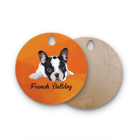 "NL Designs ""French Bulldog"" Orange White Animals Digital Illustration Round Wooden Cutting Board"