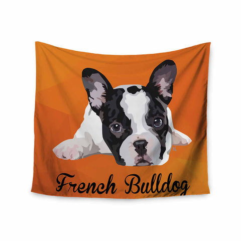 "NL Designs ""French Bulldog"" Orange White Animals Digital Illustration Wall Tapestry"