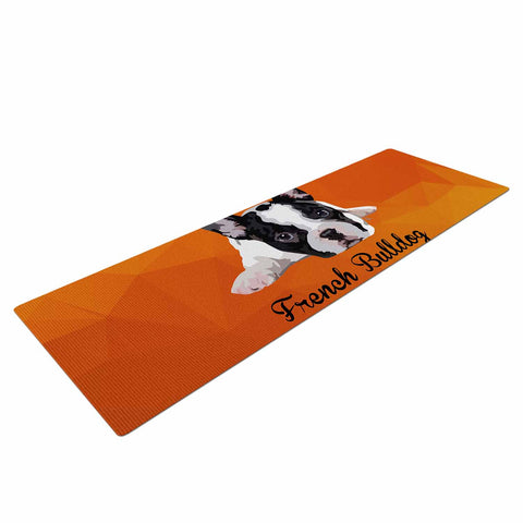 "NL Designs ""French Bulldog"" Orange White Animals Digital Illustration Yoga Mat"
