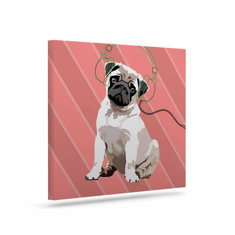 "NL Designs ""Rockin' Pup Pug"" Red Tan Animals Digital Illustration Art Canvas"