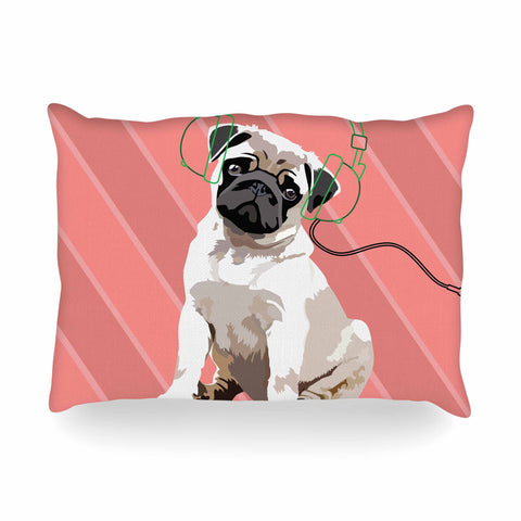 "NL Designs ""Rockin' Pup Pug"" Red Tan Animals Digital Illustration Oblong Pillow"