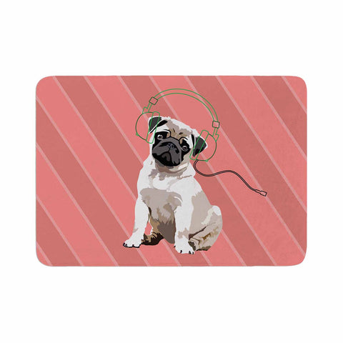 "NL Designs ""Rockin' Pup Pug"" Red Tan Animals Digital Illustration Memory Foam Bath Mat"