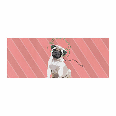 "NL Designs ""Rockin' Pup Pug"" Red Tan Animals Digital Illustration Bed Runner"