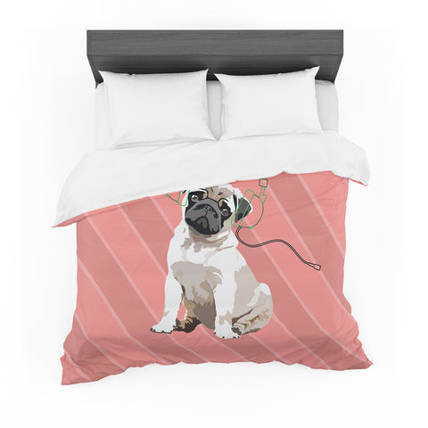 "NL Designs ""Rockin' Pup Pug"" Red Tan Animals Digital Illustration Featherweight Duvet Cover"