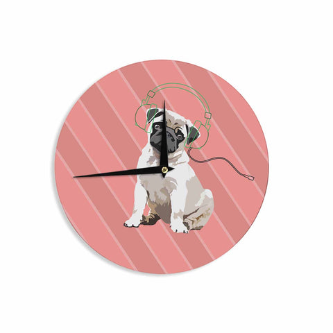 "NL Designs ""Rockin' Pup Pug"" Red Tan Animals Digital Illustration Wall Clock"
