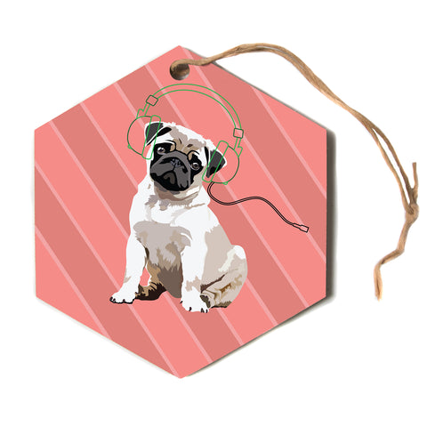 "NL Designs ""Rockin' Pup Pug"" Red Tan Animals Digital Illustration Hexagon Holiday Ornament"