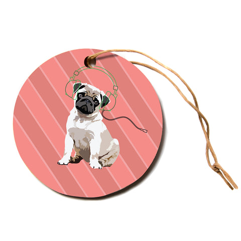 "NL Designs ""Rockin' Pup Pug"" Red Tan Animals Digital Illustration Circle Holiday Ornament"