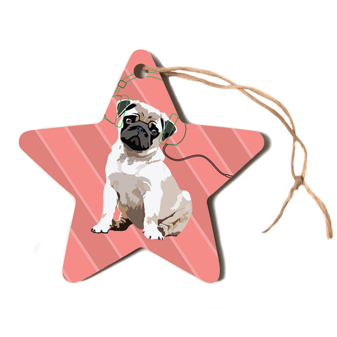 "NL Designs ""Rockin' Pup Pug"" Red Tan Animals Digital Illustration Star Holiday Ornament"