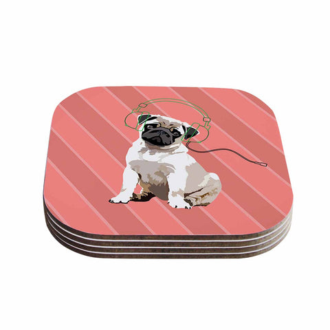 "NL Designs ""Rockin' Pup Pug"" Red Tan Animals Digital Illustration Coasters (Set of 4)"