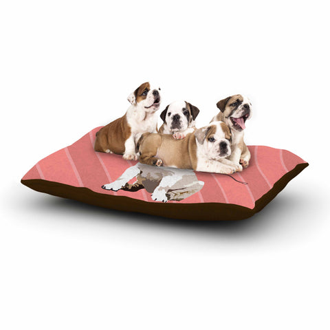 "NL Designs ""Rockin' Pup Pug"" Red Tan Animals Digital Illustration Dog Bed"