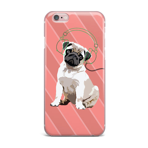 "NL Designs ""Rockin' Pup Pug"" Red Tan Animals Digital Illustration iPhone Case"
