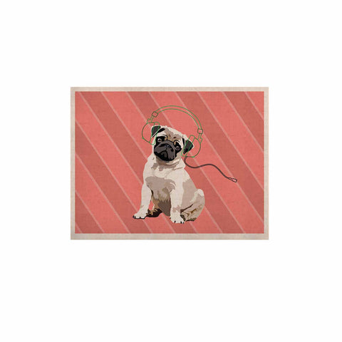 "NL Designs ""Rockin' Pup Pug"" Red Tan Animals Digital Illustration KESS Naturals Canvas (Frame not Included)"
