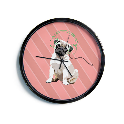 "NL Designs ""Rockin' Pup Pug"" Red Tan Animals Digital Illustration Modern Wall Clock"