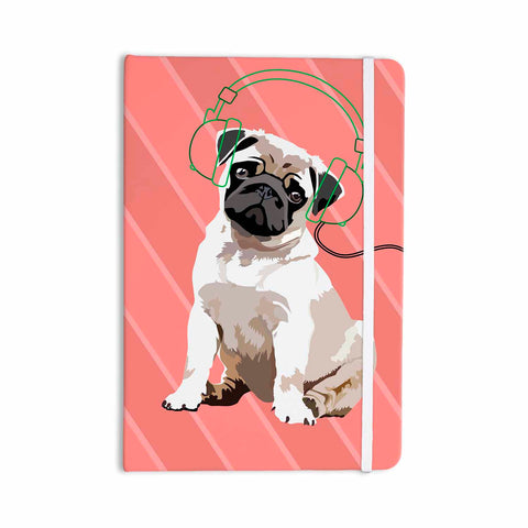 "NL Designs ""Rockin' Pup Pug"" Red Tan Animals Digital Illustration Everything Notebook"