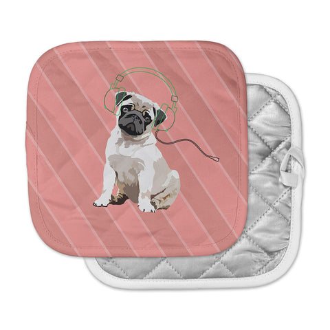 "NL Designs ""Rockin' Pup Pug"" Red Tan Animals Digital Illustration Pot Holder"