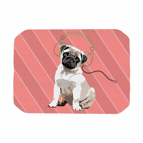 "NL Designs ""Rockin' Pup Pug"" Red Tan Animals Digital Illustration Place Mat"