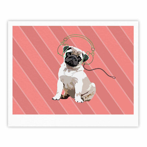 "NL Designs ""Rockin' Pup Pug"" Red Tan Animals Digital Illustration Fine Art Gallery Print"