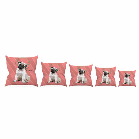 "NL Designs ""Rockin' Pup Pug"" Red Tan Animals Digital Illustration Throw Pillow"
