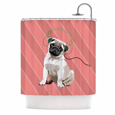 "NL Designs ""Rockin' Pup Pug"" Red Tan Animals Digital Illustration Shower Curtain"