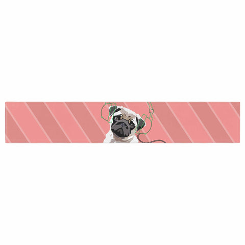 "NL Designs ""Rockin' Pup Pug"" Red Tan Animals Digital Illustration Table Runner"