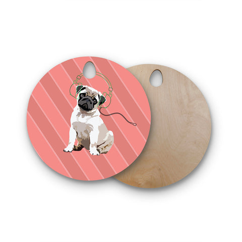 "NL Designs ""Rockin' Pup Pug"" Red Tan Animals Digital Illustration Round Wooden Cutting Board"