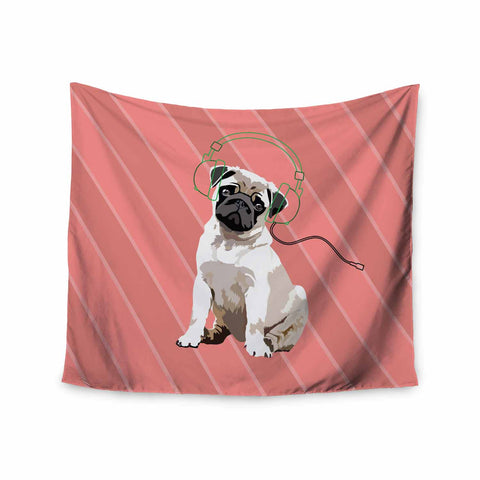 "NL Designs ""Rockin' Pup Pug"" Red Tan Animals Digital Illustration Wall Tapestry"