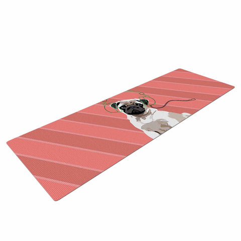 "NL Designs ""Rockin' Pup Pug"" Red Tan Animals Digital Illustration Yoga Mat"