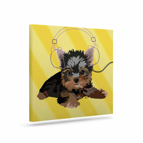 "NL Designs ""Rockin' Pups Yorkie"" Yellow Brown Animals Digital Illustration Art Canvas"