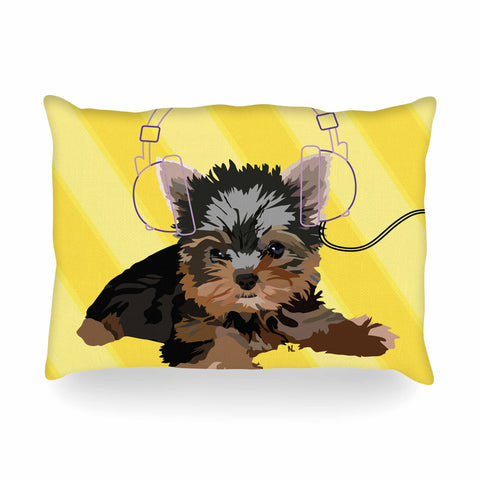 "NL Designs ""Rockin' Pups Yorkie"" Yellow Brown Animals Digital Illustration Oblong Pillow"