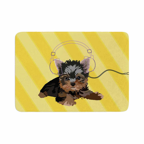 "NL Designs ""Rockin' Pups Yorkie"" Yellow Brown Animals Digital Illustration Memory Foam Bath Mat"