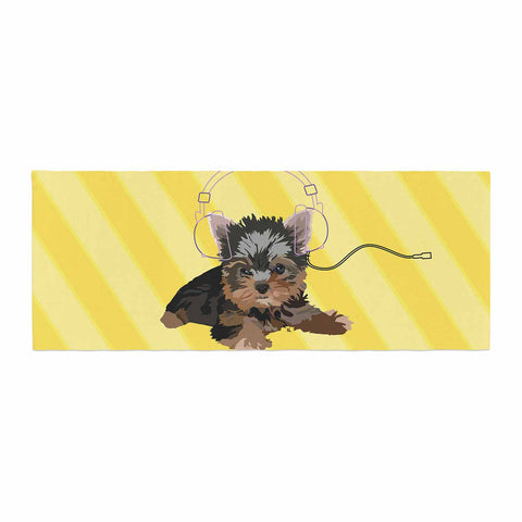 "NL Designs ""Rockin' Pups Yorkie"" Yellow Brown Animals Digital Illustration Bed Runner"