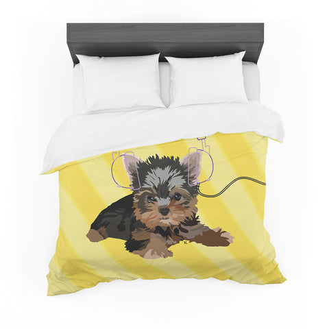 "NL Designs ""Rockin' Pups Yorkie"" Yellow Brown Animals Digital Illustration Featherweight Duvet Cover"