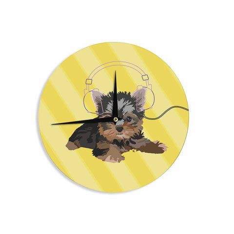 "NL Designs ""Rockin' Pups Yorkie"" Yellow Brown Animals Digital Illustration Wall Clock"