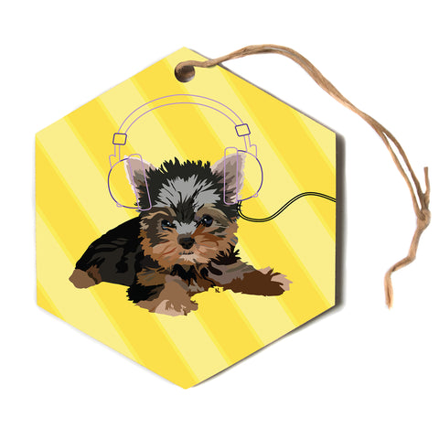 "NL Designs ""Rockin' Pups Yorkie"" Yellow Brown Animals Digital Illustration Hexagon Holiday Ornament"