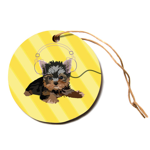"NL Designs ""Rockin' Pups Yorkie"" Yellow Brown Animals Digital Illustration Circle Holiday Ornament"