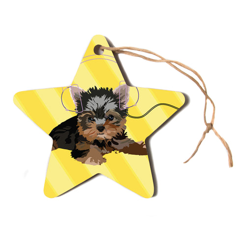 "NL Designs ""Rockin' Pups Yorkie"" Yellow Brown Animals Digital Illustration Star Holiday Ornament"