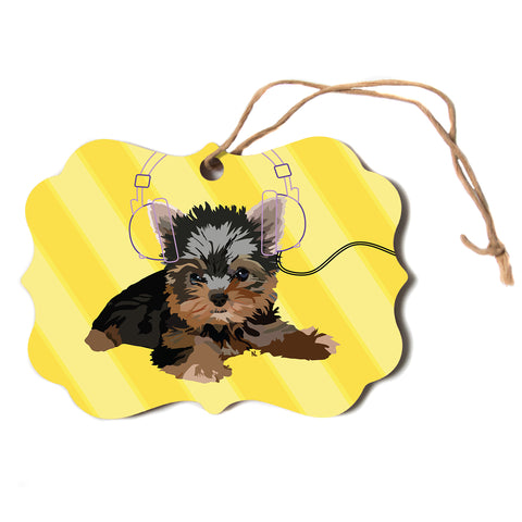 "NL Designs ""Rockin' Pups Yorkie"" Yellow Brown Animals Digital Illustration Scroll Holiday Ornament"