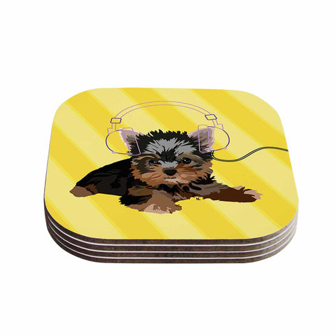 "NL Designs ""Rockin' Pups Yorkie"" Yellow Brown Animals Digital Illustration Coasters (Set of 4)"