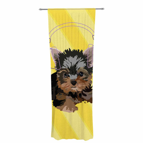 "NL Designs ""Rockin' Pups Yorkie"" Yellow Brown Animals Digital Illustration Decorative Sheer Curtain"