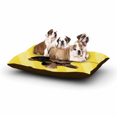 "NL Designs ""Rockin' Pups Yorkie"" Yellow Brown Animals Digital Illustration Dog Bed"